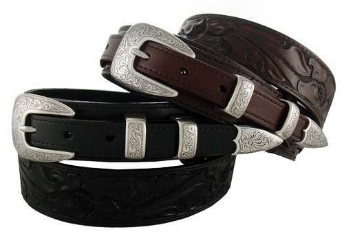 Men's Western Tooled Leather Ranger Belt