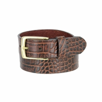 "MZ Men's Crocodile Embossed Pattern Leather Belt 1-3/8"" (35mm) Wide - Brown"