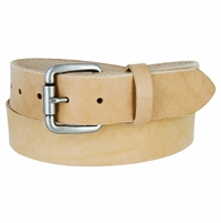 "Natural Finish Full Grain Leather Belt with Roller Buckle 1-1/2"" Wide Made in U.S.A"