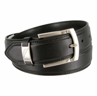 "Nautica Feathered Stitched Edge Belt 1-3/8"" wide - Black"