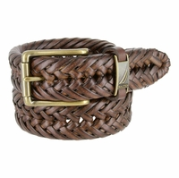 "Nautica Woven Leather Roller Buckle Belt - Brown 1-1/4"" wide"