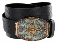 New Orleans Western Tooled Full Grain Leather Belt - Black