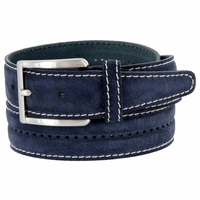 New S075 Men's Italian Suede Leather Dress Casual Belt Made in Italy - Blue
