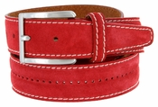 New S075 Men's Italian Suede Leather Dress Casual Belt Made in Italy - Rosso (Red)