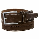 New S075 Men's Italian Suede Leather Dress Casual Belt Made in Italy - T.MORO (Brown)