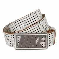 Nike Cutout Buckle with White Genuine Leather Perforated Golf Belt
