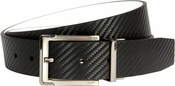 Nike Golf Tour Men's Carbon Fiber Textured Reversible Leather Belt Black/White 1118925