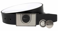 Nike Men's Golf Ball Maker III Reversible Leather Belt 1115225 Black/White