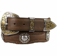 Old Saddle Western Belt  Berry Concho Scalloped Leather Belt