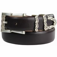 Omega Chain Italian Leather Designer Belt