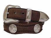 Oregon Trail Western Coin Concho Leather Belt