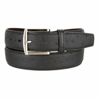 Ostrich Embossed Dress Designer Exotic Black Leather Belt