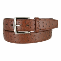 Ostrich Embossed Dress Designer Exotic Brown Leather Belt