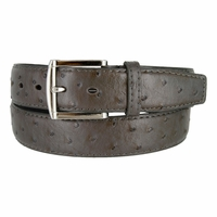 Ostrich Embossed Dress Designer Exotic Gray Leather Belt