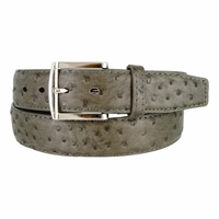 Ostrich Embossed Dress Designer Exotic Olive Leather Belt