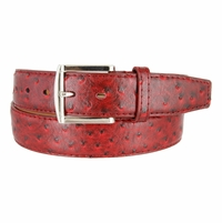 Ostrich Embossed Dress Designer Exotic Red Leather Belt Red