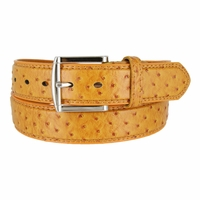 Ostrich Embossed Dress Designer Exotic Tan Leather Belt