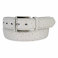 Ostrich Embossed Dress Designer Exotic White Leather Belt