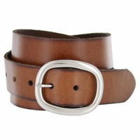 "Oval Buckle Full Grain leather Casual Jean Belt 1-1/2"" (38mm) wide"