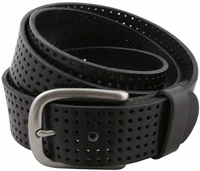"Park Hills Perforated 100% Leather Casual Golf Jean Belt 1-1/2"" Wide- Black"