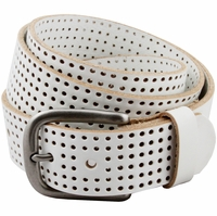 """Park Hills Perforated 100% Leather Casual Golf Jean Belt 1-1/2"""" Wide- White"""