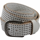 "Park Hills Perforated 100% Leather Casual Golf Jean Belt 1-1/2"" Wide- White"