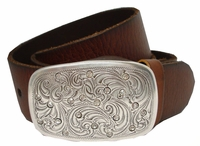 Pauline Rhinestone Buckle Full Grain Leather Belt