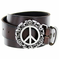 Peace Sign Belt Buckle Casual Jean Leather Belt