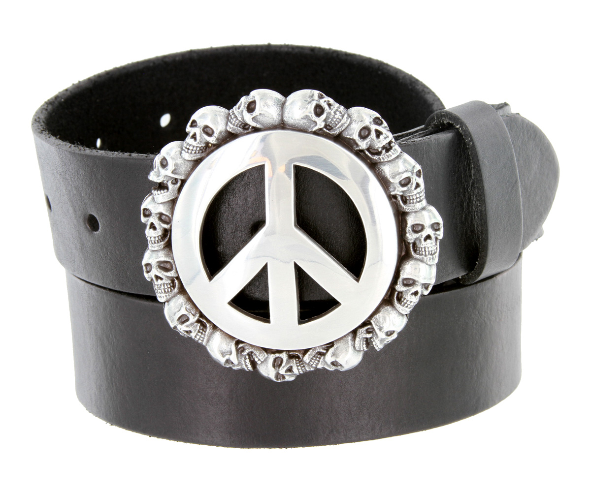 peace sign skull buckle leather biker belt 1 1 2 quot wide