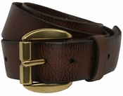 Pete Men's Full Grain Leather Casual Jean Belt Solid Brass Roller Buckle $27.50-Dark Brown