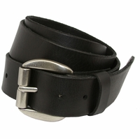 Pete Men's Full Grain Leather Casual Jean Belt Solid Brass Roller Buckle -Black