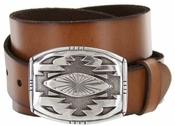 Phoenix Southwestern Buckle Full Grain Leather Belt $27.50