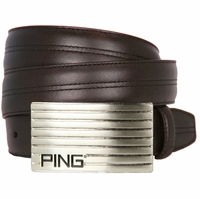 Ping Silver Golf Plate Leather Golf Belt Brown x-p3042