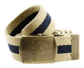 Premium Striped Cotton Fabric Belt 1.5 Inch Wide - Khaki / Navy