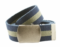 Premium Striped Cotton Fabric Belt 1.5 Inch Wide - Navy / Olive