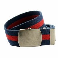Premium Striped Cotton Fabric Belt 1.5 Inch Wide - Navy / Red