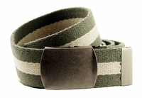 Premium Striped Cotton Fabric Belt 1.5 Inch Wide - Olive / Khaki