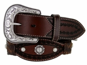 Roper Men's Western Conchos Scalloped Leather Belt 1-1/2""