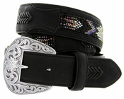 "Roper Western Beaded Leather Belt 1-1/2"" - Black"