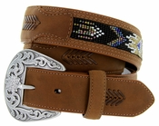 "Roper Western Beaded Leather Belt 1-1/2"" - Brown"