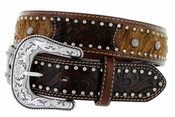 Roper Western Bridle Cowhair Hand-tooled Floral Leather Belt - Brown