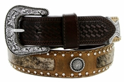 "Roper Western Buckle Hair on conchos Leather Belt 1-1/2"" - Brown"