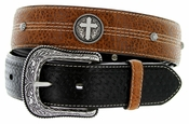 "Roper Western Cross Conchos Basketweave Leather Belt 1-1/2"" wide"