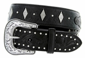 "Roper Western Gator Print Hand-tooled Leather Conchos Belt 1-1/2"" - Black"