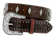 "Roper Western Gator Print Hand-tooled Leather Conchos Belt 1-1/2"" - Brown"