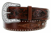 "Roper Western Hand-tooled Floral Leather Belt 1-1/2"" - Brown"