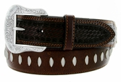 Roper Western Oily Buffalo Hand-tooled Basketweave Leather Belt