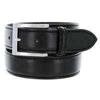 """S029/35 Men's Italian Leather Dress Casual Belt 1-3/8"""" Wide Made in Italy - Nero (Black)"""