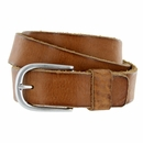 S033 Men's Italian Full Leather Dress Casual Belt Made in Italy - Marrone(Brown)