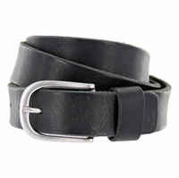 S033 Men's Italian Full Leather Dress Casual Belt Made in Italy - Nero (Black)